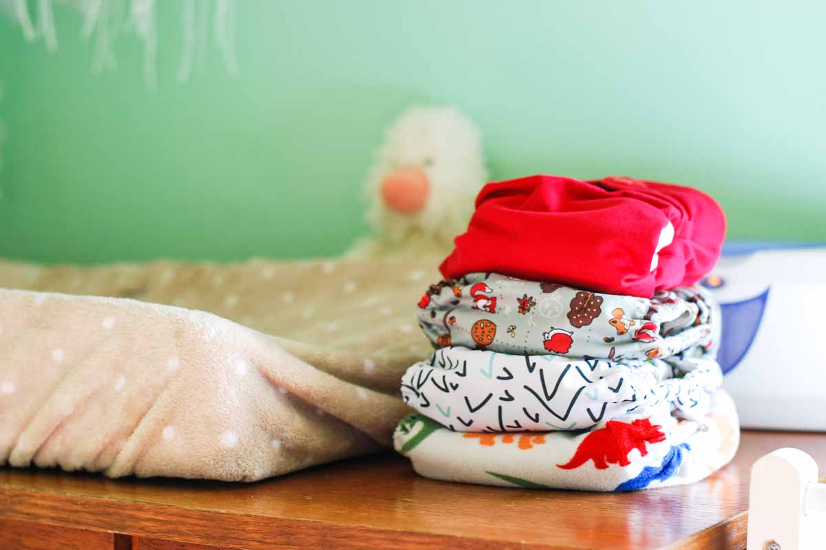 Pile of rightly colored cloth diapers