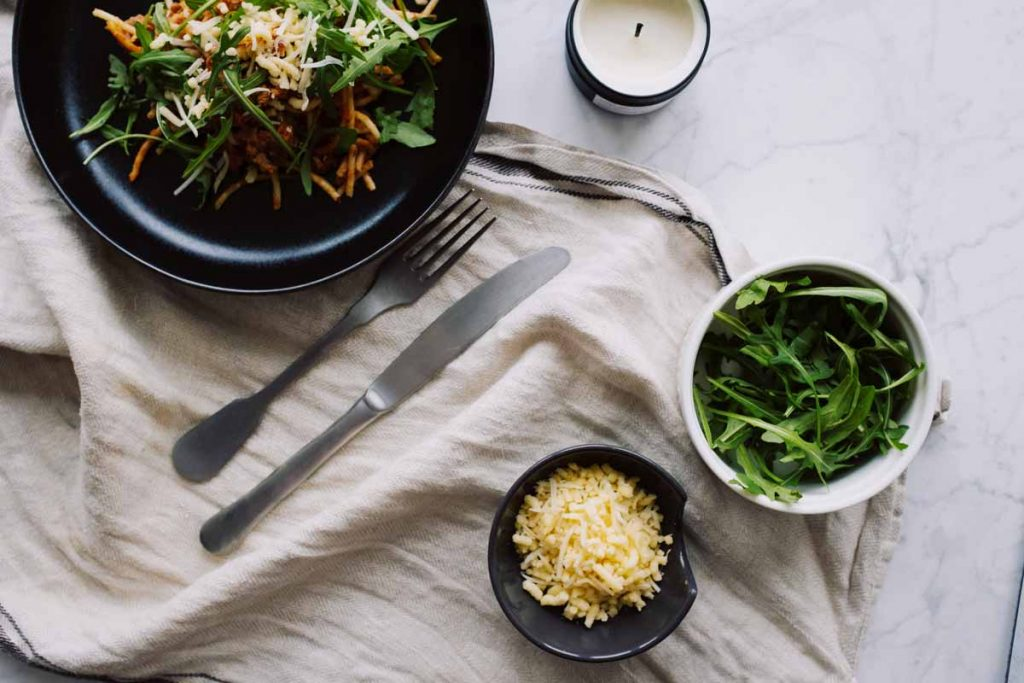 Vegetarian meal on a linen napkin