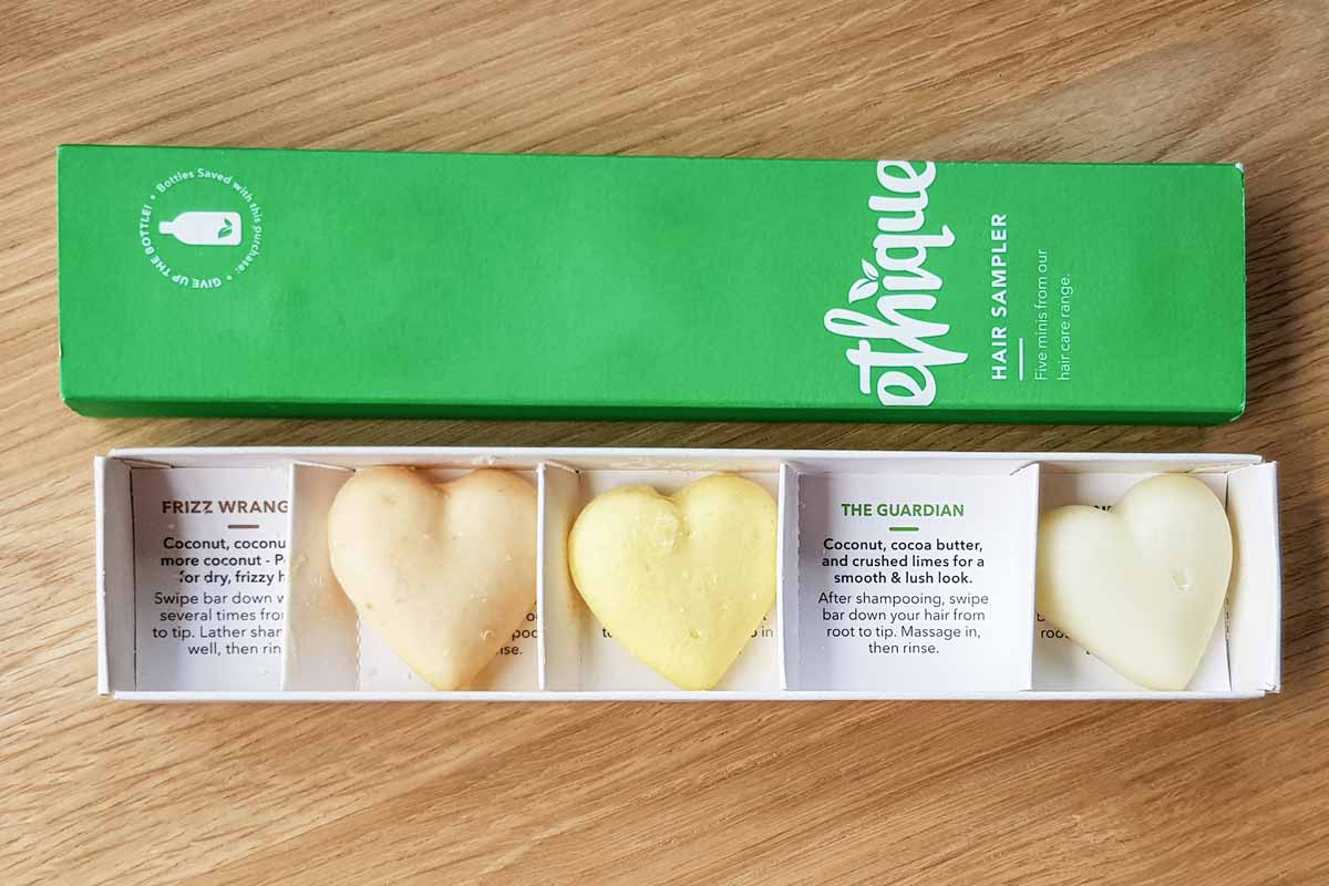 Ethique sampler box, with three hearth shaped shampoo and conditioner bars