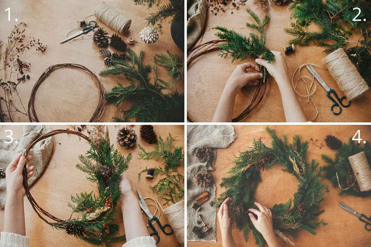 4 photos showing the steps to make a Christmas wreath