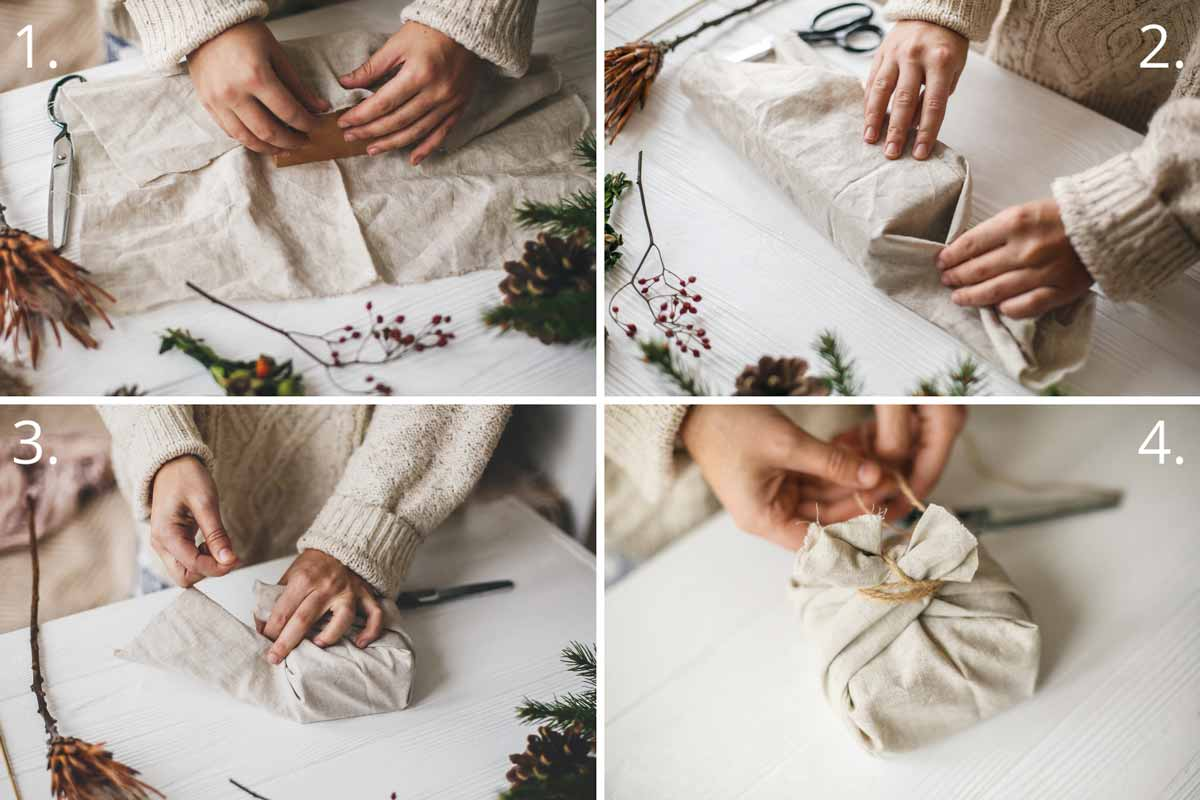 Images of hands wrapping a gift in linen fabric