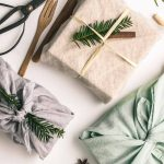 Three gifts wrapped in linen gift wrap